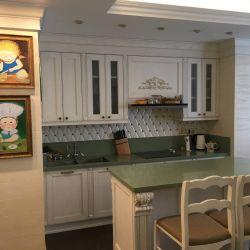 Одна из наших замечательных работ - столешница на кухню из кварцита нежно-зеленого цвета Technistone Starlight Green (Чехия)