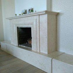 Облицовка каминов натуральным мрамором. Каминный портал из мрамора Crema Nuova (Турция)