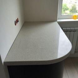 Столешница и подоконник из искусственного камня (кварцита) белого цвета Vicostone BC190 (Вьетнам)