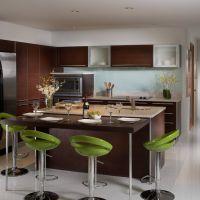 Применение цвета 2017 года GREENERY в оформлении модной кухни. Барная стойка из кварцита шоколадногго цвета Caesarstone 3380.