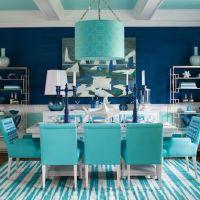 Сочетание модных цветов Lapis Blue и Island Paradise в интерьере стильной кухни 2017