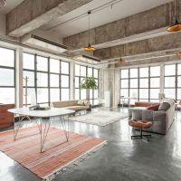Применение бетона или материалов под бетон для интерьера в стиле Лофт