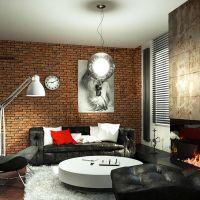 Применение черного мрамора при облицовке камина для интерьера в стиле Лофт